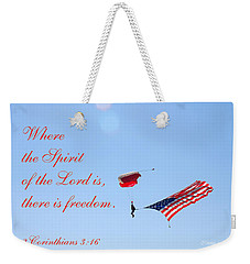 Weekender Tote Bag featuring the photograph Parachuting With Old Glory by Connie Fox