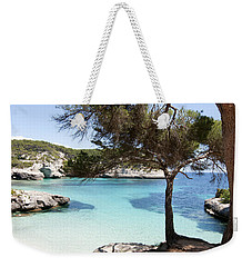 Paradise In Minorca Is Called Cala Mitjana Beach Where Sand Is Almost White And Sea Is A Deep Blue  Weekender Tote Bag