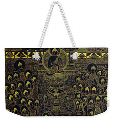 Weekender Tote Bag featuring the painting Paradise Of Holy Sakyamuni by Fei A