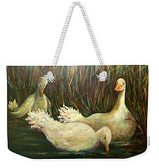Paradise Pond,ducks  Weekender Tote Bag
