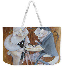 Weekender Tote Bag featuring the painting Paris Cafe by Marina Gnetetsky
