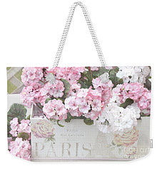 Paris Dreamy Romantic Cottage Chic Shabby Chic Paris Flower Box Weekender Tote Bag by Kathy Fornal