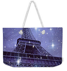 Paris Eiffel Tower Starry Night Photos - Eiffel Tower With Stars Celestial Fantasy Sparkling Lights  Weekender Tote Bag by Kathy Fornal