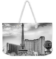 Weekender Tote Bag featuring the photograph Paris Las Vegas by Howard Salmon