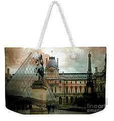 Paris Louvre Museum Pyramid Architecture - Eiffel Tower Photo Montage Of Paris Landmarks Weekender Tote Bag by Kathy Fornal