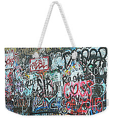 Weekender Tote Bag featuring the photograph Paris Mountain Graffiti by Kathy Barney