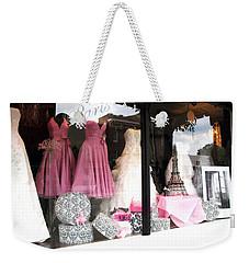 Paris Pink White Bridal Dress Shop Window Paris Decor Weekender Tote Bag by Kathy Fornal
