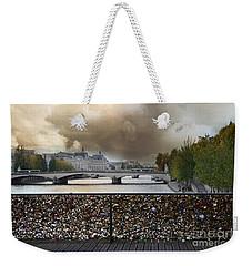 Paris Pont Des Art Bridge Locks Of Love Bridge - Romantic Locks Of Love Bridge View  Weekender Tote Bag by Kathy Fornal