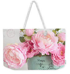 Paris Peonies Shabby Chic Dreamy Pink Peonies Romantic Cottage Chic Paris Peonies Floral Art Weekender Tote Bag by Kathy Fornal