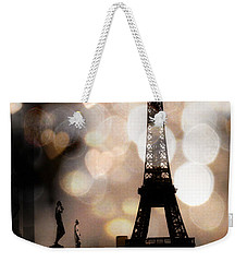 Paris Surreal Fantasy Sepia Black Eiffel Tower Bokeh Hearts And Circles - Paris Eiffel Tower Hearts  Weekender Tote Bag