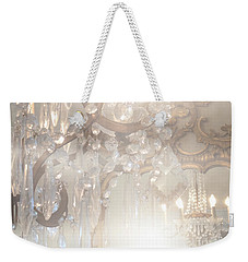 Paris Dreamy White Gold Ghostly Crystal Chandelier Mirrored Reflection - Paris Crystal Chandeliers Weekender Tote Bag by Kathy Fornal