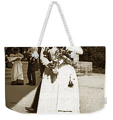 Weekender Tote Bag featuring the photograph Parisian Woman Lady Paris France 1900 Historical Photo by California Views Mr Pat Hathaway Archives
