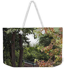 Weekender Tote Bag featuring the photograph Park Bench by Kate Brown