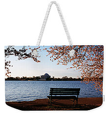 Park Bench With A Memorial Weekender Tote Bag by Panoramic Images