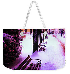 Park Benches In Snow Weekender Tote Bag by Nina Ficur Feenan