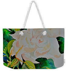 Weekender Tote Bag featuring the painting Passionate Gardenia by Beverley Harper Tinsley