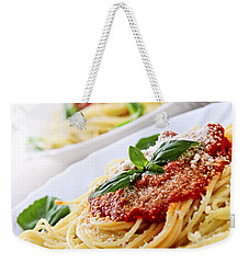 Pasta And Tomato Sauce Weekender Tote Bag by Elena Elisseeva