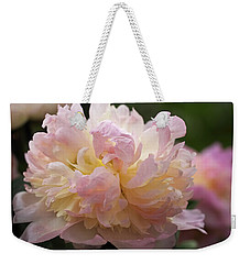 Weekender Tote Bag featuring the photograph Pastel Peony by Rona Black