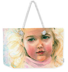 Pastel Portrait Of An Angelic Girl Weekender Tote Bag by Greta Corens
