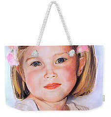Pastel Portrait Of Girl With Flowers In Her Hair Weekender Tote Bag