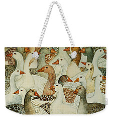 Patchwork Geese Weekender Tote Bag by Ditz