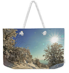 Path Covered With Snow In A Sunny Winter Day Weekender Tote Bag by Vlad Baciu