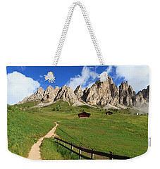 Weekender Tote Bag featuring the photograph path in Gardena pass by Antonio Scarpi