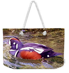 Weekender Tote Bag featuring the photograph Patriot Duck by Susan Garren