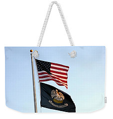 Weekender Tote Bag featuring the photograph Patriotic Flags by Joseph Baril