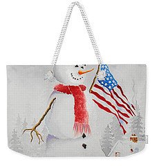Patriotic Snowman Weekender Tote Bag by Jimmy Smith
