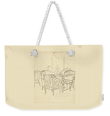 Patterned Chairs At A Restaurant Weekender Tote Bag