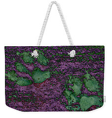 Paw Prints In Green And Mauve Weekender Tote Bag