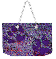 Paw Prints In Purple With Red Glow Weekender Tote Bag