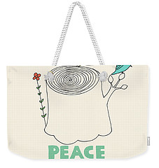 Peace And Love Weekender Tote Bag by Eric Fan