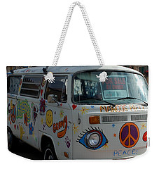 Weekender Tote Bag featuring the photograph Peace And Love Van by Dany Lison