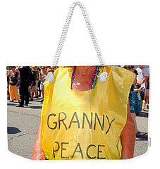 Weekender Tote Bag featuring the photograph Peace Granny by Ed Weidman