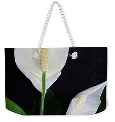 Weekender Tote Bag featuring the photograph Peace Lilies by Sharon Duguay