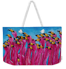 Weekender Tote Bag featuring the painting Peace Love And Flamingos by Patti Schermerhorn