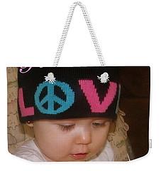 Peace N Love Baby Weekender Tote Bag by Bobbee Rickard