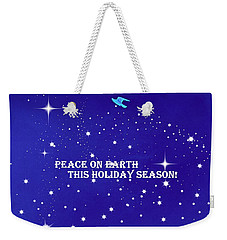Peace On Earth Card Weekender Tote Bag by Kathy Barney