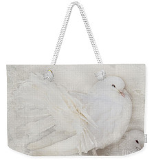 Peaceful Existence White On White Weekender Tote Bag