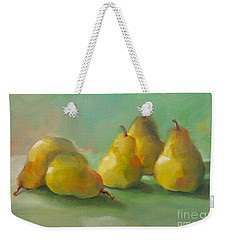 Weekender Tote Bag featuring the painting Peaceful Pears by Michelle Abrams