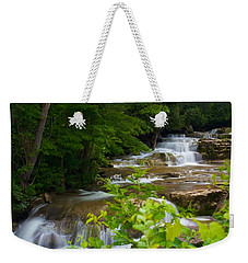 Weekender Tote Bag featuring the photograph Peaceful Stockbridge Falls  by Dave Files