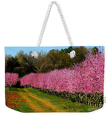Weekender Tote Bag featuring the photograph Peach Orchard In Carolina by Lydia Holly