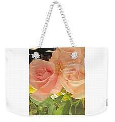 Peach Roses In Greeting Card Weekender Tote Bag