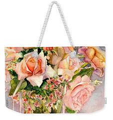 Peach Roses In Vase Weekender Tote Bag
