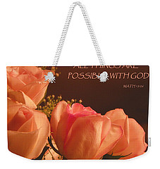 Peach Roses With Scripture Weekender Tote Bag by Sandi OReilly