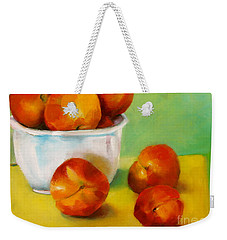 Weekender Tote Bag featuring the painting Peachy Keen by Michelle Abrams