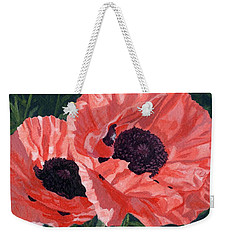 Weekender Tote Bag featuring the painting Peachy Poppies by Lynne Reichhart