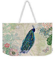 Peacock And Botanical Art Weekender Tote Bag